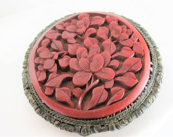 Cinnabar Dress Clip - Signed China Silver  - Deeply Carved Pendant Clip
