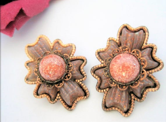 Mid Century Earrings - Goldstone Center -  Copper Modernist - Clip Ons