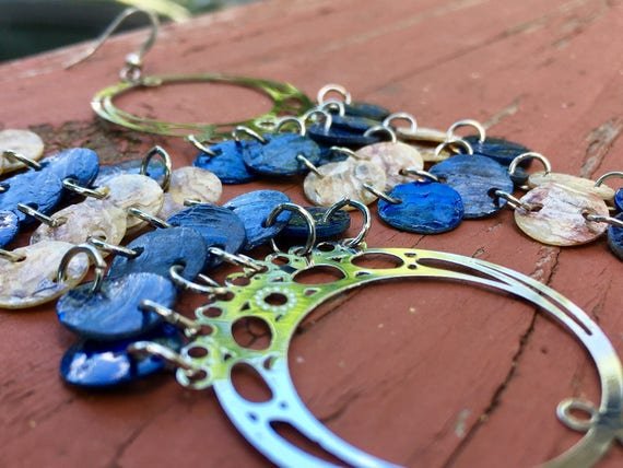 Dark Blue & Natural Mussel Shell Chandelier Earrings- Summer Earrings