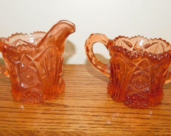 Vintage Pink Glass Cream & Sugar Bowl Pressed Glass Cut Glass Cream and Sugar