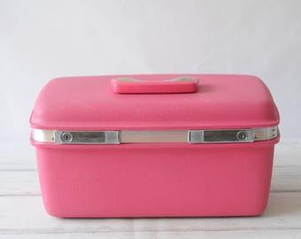 Samsonite SATURN Vintage Bright Hot Pink Hard Suit Case Luggage Overnite Bag