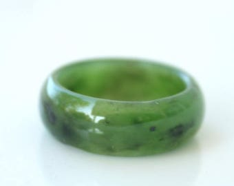 ON SALE Green Jade Ring - Thick Band - Simple Band Ring