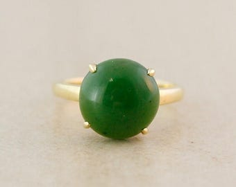 FLASH SALE Round Emerald Green Jade Engagement Ring - 10kt gold - 4 prong