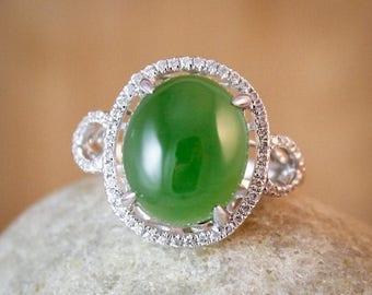 FLASH SALE Diamond Halo Setting AAA Grade Jade Ring - Engagement Ring - Cocktail Ring