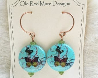 Summer Wedding SALE Turquoise Butterfly Earrings, Copper Earwires , Beautiful Gift, Free Gift Wrapping,Wonderful Bright Blue Ceramic Discs,