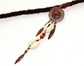 Dreadlock Jewelry - Antique Copper Cowrie Dream Catcher Loc Jewel