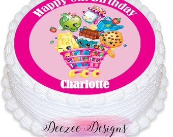 Shopkins Personalised Round Edible Icing Cake Topper - PRE-CUT