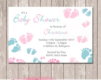Baby Feet Personalised Baby Shower Invitation - YOU PRINT