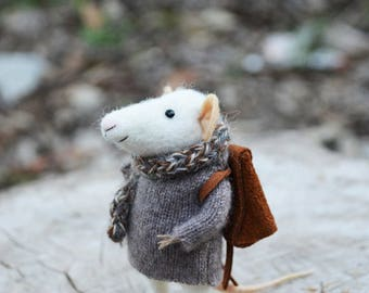 Little Traveler Mouse- Needle Felted Doll Rustles from the Meadow MADE TO ORDER