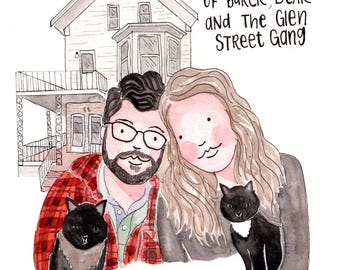 Couple Portrait, couple illustration, custom portrait, custom family portrait, custom illustration, wedding gift, anniversary gift, gift
