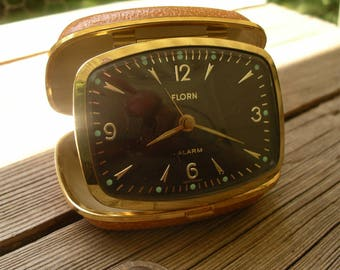 Vintage Florn Travel Alarm Clock - Collapsible Wind Up Time Piece Made in Germany - 1960's Folding Analog Bedside Clock