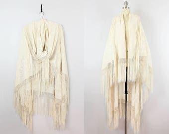 vintage 20s fringed silk piano shawl / 1920s floral embroidered silk wrap / large cream silk fringe wrap / wedding wrap shawl