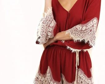 ITZEL Romper in  Red with White Lace Trim