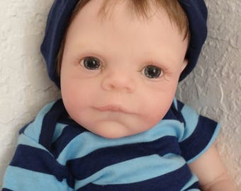 "Reborn 17"" Preemie Boy Baby Miles -ready to ship!"
