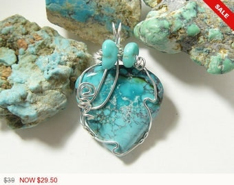 Turquoise wire wrapped gemstone cabochon, Argentium silver wire wrapped jewelry pendant, natural gemstone, polished back (w3461)