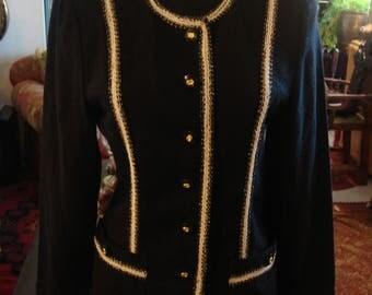 Vintage 1980s Black and White Front Botton Classic Jacket Blazer