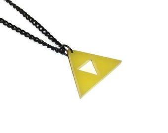 Triforce Necklace, Legend of Zelda, Yellow Laser Cut Gaming