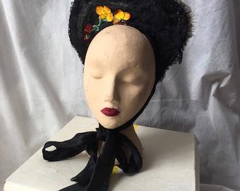 Victorian horsehair spoon hat bonnet