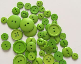 Lime Green Plastic Craft Buttons  - Variety Pack (Approximately 50+ buttons)