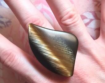 Large Asymmetrical Tigereye Ring with Adjustable Band