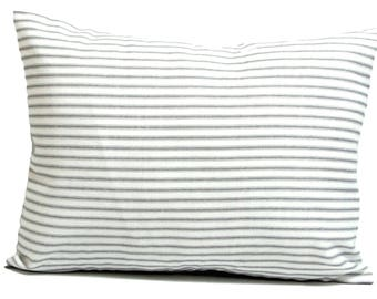 Ticking Stripe Pillow Covers, French Ticking Decorative Pillow, Gray Throw Pillow, Cushion,  French Grey.12x18 or 12x16 inch Lumbar Cushion