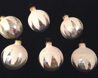 """Lot 6 Vintage 2.5"""" Clear Glass Ball Christmas Ornaments Mica/snow un-silvered"""