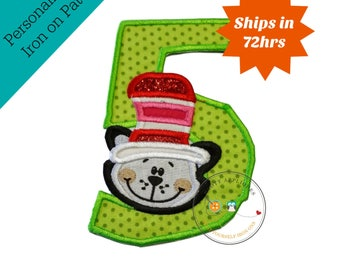 Cat in hat, number 5, 5th birthday, green, glitter, red, cat in hat party, iron on patch, no sew applique, personalize, ready to ship