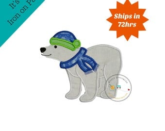 Winter white polar bear with cap and scarf machine embroidered fabric iron on no sew patch, ready to ship holiday applique