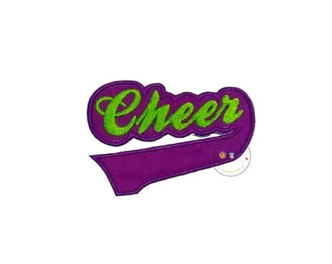 ON SALE NOW Purple and green Cheer  iron on applique, Fall sports no sew patch , Machine embroidered football fabric applique