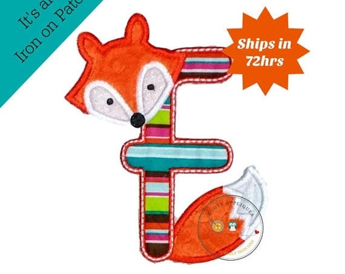 ON SALE NOW Woodland fox letter F machine embroidered iron on no sew patch, fox embroidered monogram letter f, ready to ship