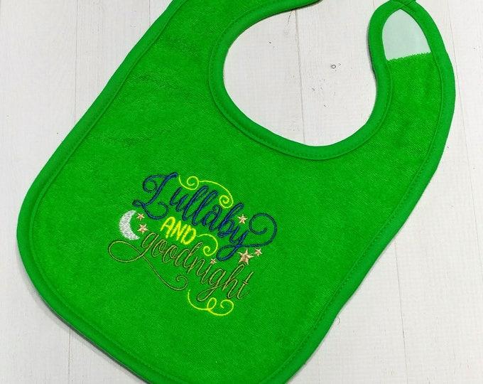 Lullaby and goodnight green embroidered Koala Baby cloth baby bibs for 6-12 month old girls and boys