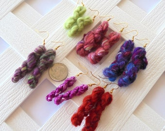 Mini Skein Earrings, Tiny Skeins of Yarn, Yarn Earrings, Fiber Arts Earrings, Dangly Earrings, Knitter Earrings, Weaver Earrings, Chartreuse
