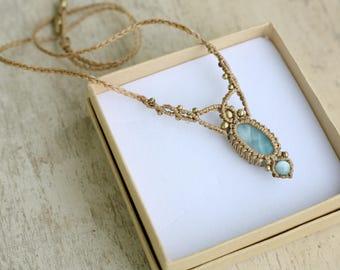Larimar macrame necklace, magical necklace, macrame jewelry, macrame necklace, delicate necklace, royal necklace, larimar necklace