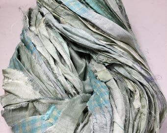 New Recycled Sari Silk Ribbon Greenish Gray with Turquoise Check Print Embroidery Tassel Supply Jewelry Fair Trade Felt Fiber Art Supply