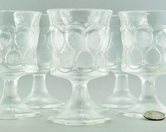 Set of 8 MCM Danish Modern Pedestal Drinking Glasses with Raindrop Motif
