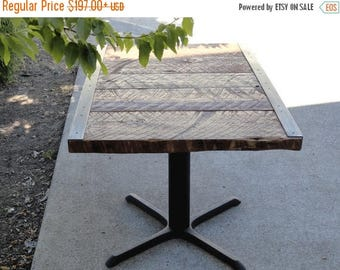 Limited Time Sale 10% OFF Restaurant Dining Table, Steel Angle Iron, Reclaimed Antique Barn Wood, Steel Pedestal Base