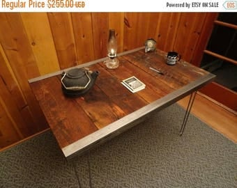 Limited Time Sale 10% OFF 24 x 36 - Industrial desk with raw steel trim and hairpin legs