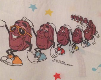 California Raisins Full Flat Sheet 1980s