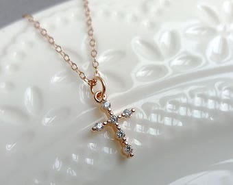Dainty Cross Necklace. Rose Gold Cross. Gold Cross. Silver Cross. Christmas Gift. Cubic Zirconia Cross. Delicate Dainty, CZ Cross Necklace