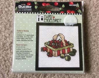 Basket of Berries Counted Cross Stitch KIT by MARY ENGELBREIT, Bucilla Cross Stitch Kit, 2.5 x 2.5 Inches