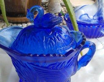 Vintage Cobalt Blue Swan Creamer with nesting Swan Lid