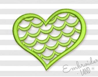 Mermaid Heart T-Shirt Machine Embroidery Design 4 sizes hoop DE051
