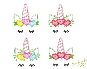Cute Unicorn Heart Valentine's Day Machine Embroidery Design Four Variations 3 sizes 4x4 5x7 6x10 hoop DE069