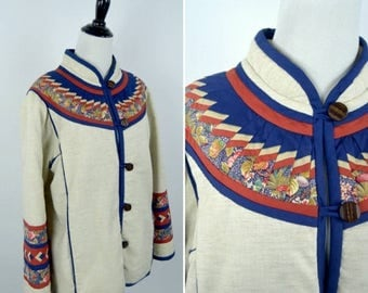 SUMMER SALE Vintage 1970's Cotton Quilted Coat - Boho Blue and Cream Jacket - Ladies size medium