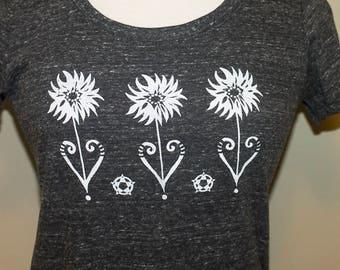 Organic Screen Printed T Shirt / Pennsylvania Hex Tee / Sunflower Drawing T Shirt