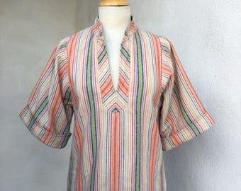 Vintage boho wool tunic top stripes by Patty Woodard California sz S/M