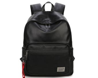 Basic Synthetic Leather Backpack with mesh pocket (Black)