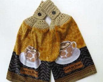 Kitchen Hanging Towels - Cafe De Paris Crochet Top Kitchen Hand Towel Set of 2