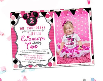 Minnie Mouse Invitation 2nd Birthday With Photo, Oh Twodles Invitation, Minnie Mouse Invitation, 1st, 2nd 3rd 4th Birthday, Printable