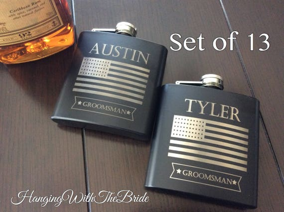 Set of 13 Personalized Flask Groomsmen Gift Box  Groomsmen Flask Set - Gifts for Groomsmen - Monogram Flask - Custom Flask Set for Groomsmen